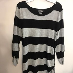 Black and Grey Striped Tunic Top